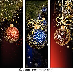Christmas website banner set decorated with Xmas tree,...