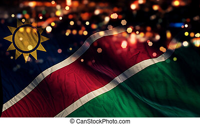 Namibia National Flag Light Night Bokeh Abstract Background