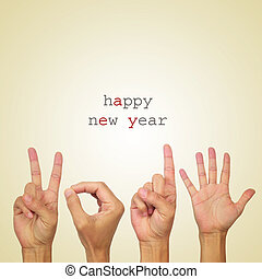 happy new year 2015 - the text happy new year and man hands...