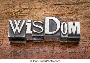 sagesse, mot, dans, métal, type, ,