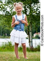 Sweet little jeans girl