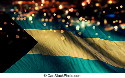Bahamas National Flag Light Night Bokeh Abstract Background
