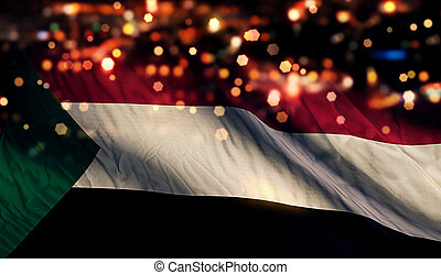 Sudan National Flag Light Night Bokeh Abstract Background