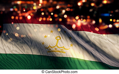 Tajikistan National Flag Light Night Bokeh Abstract...
