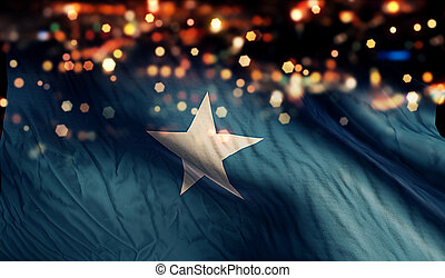 Somalia National Flag Light Night Bokeh Abstract Background