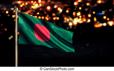 Bangladesh National Flag City Light Night Bokeh Background...