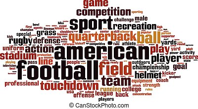 American football word cloud concept. Vector illustration