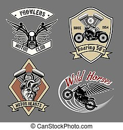 Vintage motorcycle labels - Set of vintage motorcycle...