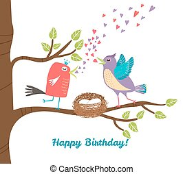 Birthday postcard - Two birds siting in nets with eggs on...