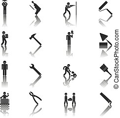 Construction worker icons - black silhouettes icons of...