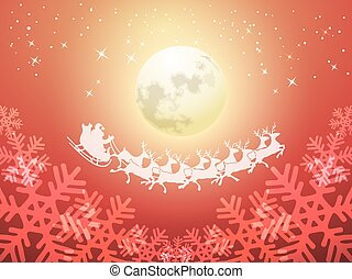 Santa driving his sleigh on a moonlit night riding through a...