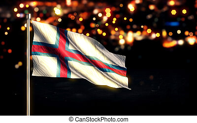 Faroe Islands National Flag City Light Night Bokeh...