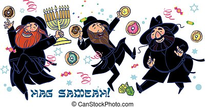 Funny Happy Hanukkah greeting card. Vector illustration