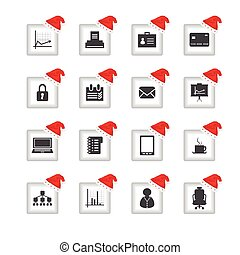 special flat ui icons with Christmas design for web and...