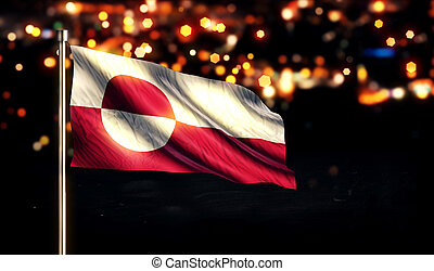 Greenland National Flag City Light Night Bokeh Background 3D