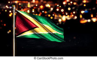 Guyana National Flag City Light Night Bokeh Background 3D
