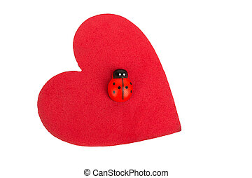 lucky heart - red heart with a ladybug against white...