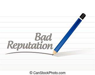bad reputation sign message illustration design over a white...
