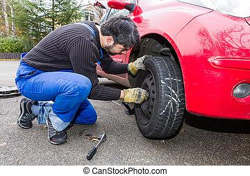 men at work - tyre change