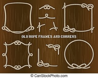 Old Rope Frames and Corners on Brown Background - Set of Old...