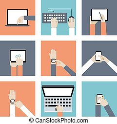 Hands Holding Digital Devices - Colored Hands Holding...