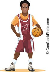 Basketball player in uniform with ball in hand isolated on...