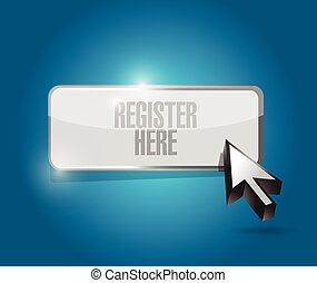 register here button illustration design over a blue...