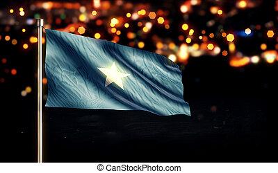 Somalia National Flag City Light Night Bokeh Background 3D