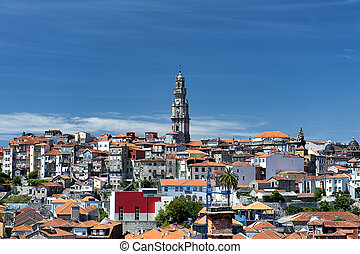 Clerigos Tower - View on old houses in Barredo district,...