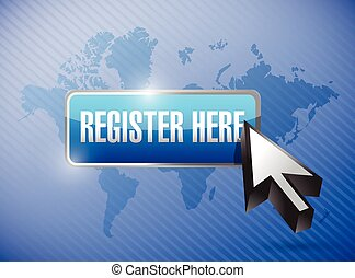 register here button and cursor illustration design over a...
