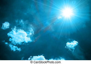 Blue background - abstract blue color background with sun...