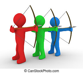 Different archers aiming at same target - Different colored...