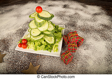 Christmas tree salad - A Christmas tree salad made with...