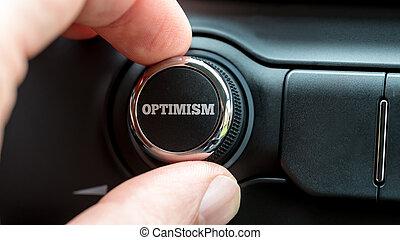 tourner, a, puissance, bouton, lecture, -, optimisme,