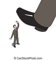 Step on worker - This is an illustration of big foot...