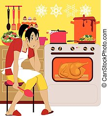 Cooking for holidays - Exhausted woman in an apron sitting...