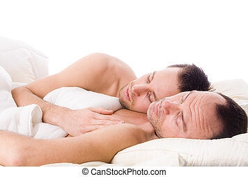 Sleeping gay couple - Happy homo couple in a white bed...
