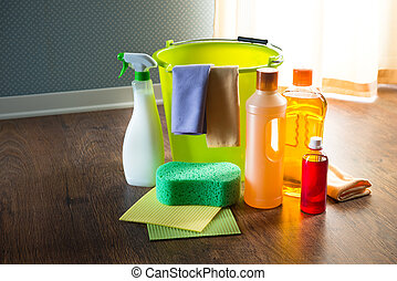 Household products - Wood cleaners and detergents on floor...