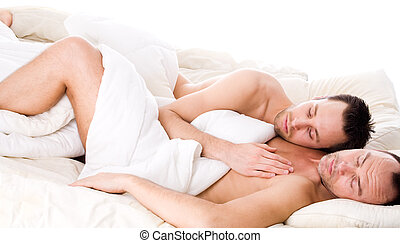 Sleeping together - Happy homo couple in a white bed taking...