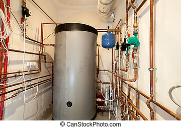 Boiler-house in the building - Horizontal view of...