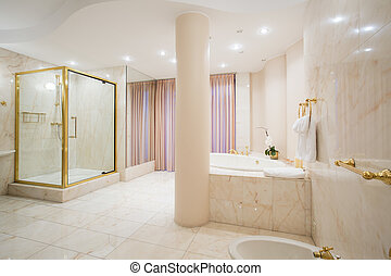 Luxury bathroom in pastel colors - Interior of luxury...