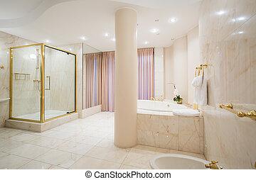 lujo, cuarto de baño, en, pastel, colores,