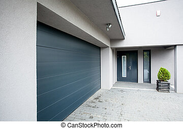 House with the garage - Horizontal view of house with the...