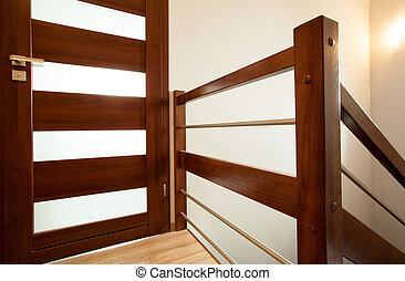 Wooden handrail at home - Horizontal view of wooden handrail...