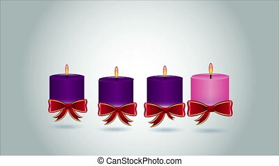 Candle animation - Four Candles, Video Animation, HD 1080