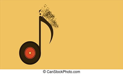 Music note animation - Music note on yellow background,...