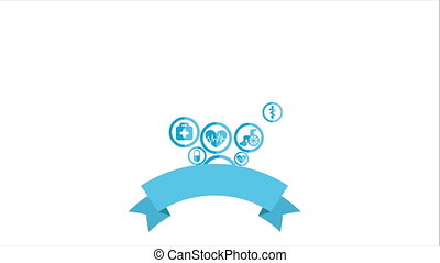Helath Icons - Blue health icons on white background, Video...
