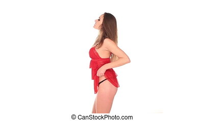 Sexy seductive woman in red - Sexy seductive busty young...