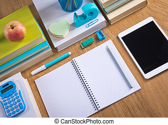 Tidy student desktop - Stationery and student equipment...