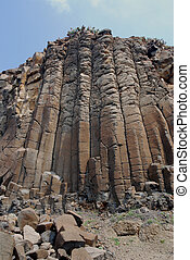 basalt - Columnar jointing rock structure in asia.